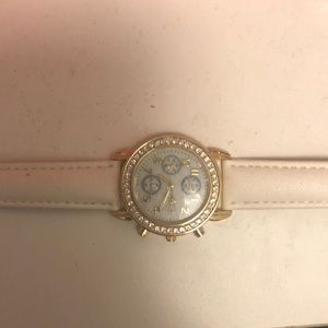 White leather watch with gold/rhinestone accent
